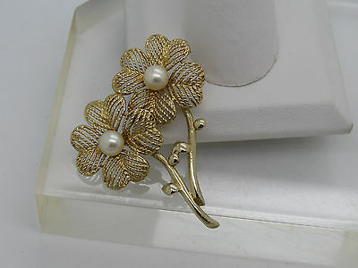 Solid 14k Yellow Gold White Pearl Accent Double Flower Petal Pin Brooch 1.75""