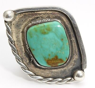 Vintage Navajo Sterling Silver Large Old Pawn Spiderweb Green Turquoise Ring 7.5