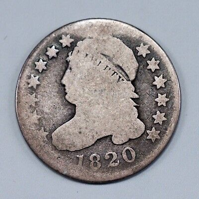 1820 .10   90% Silver  CAPPED BUST DIME VARIETY 1 WIDE BORDER