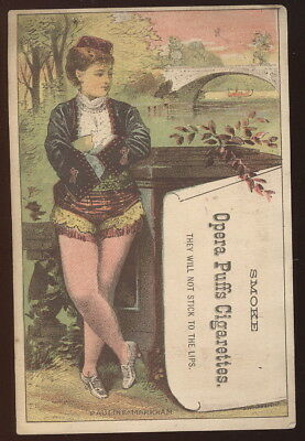 1880S Trade Card Advertising Opera Puffs Cigarettes, They Wont Stick To Your Lip