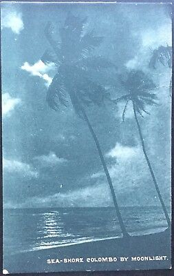 Sea-shore - Colombo by Moonlight - Plate Antique Postcard