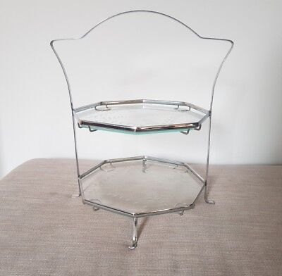 Vintage Art Deco Two Tier Glass & Chrome Cake Stand Afternoon Tea 1930s