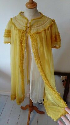 VINTAGE DOUBLE LAYER sheer NYLON negligee gown  - ruffles