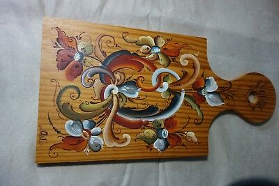 norwegian rosemaling hand painted artist signed cutting board wall hanging