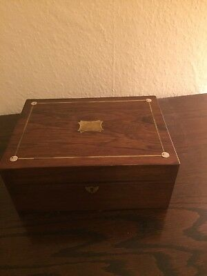 Antique Oak Veneer Wooden Box With Mother Of Pearl And Brass Decoration