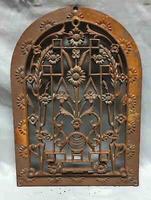 One Antique Arched Top Heat Grate Grill Floral Decorative Arch 10X14 622-18C