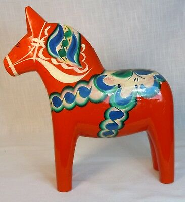 Large Dala Horse Vintage Swedish Erik Pell Label Orange Red Mora Sweden 12.75""