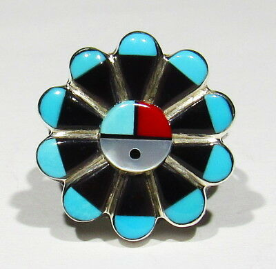 FINEST Vintage Signed Len Adakai 925 Silver Turquoise Coral Inlay Sunface Ring 6