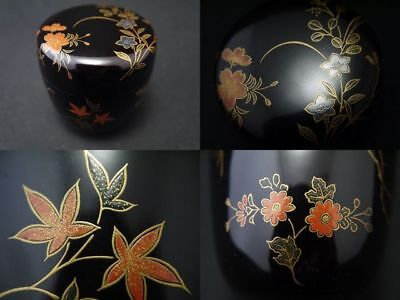 Japanese Lacquer Wooden Tea caddy Four seasons Plants makie Natsume (1129)