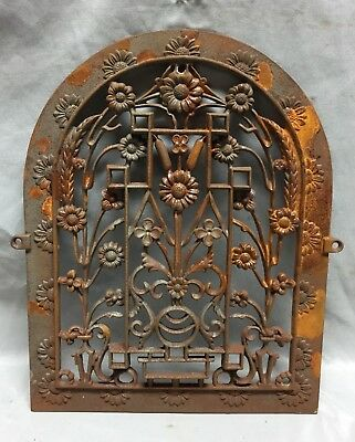 One Antique Arched Top Heat Grate Grill Floral Decorative Arch 11X15 625-18C