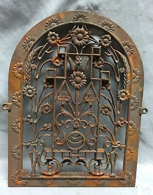 One Antique Arched Top Heat Grate Grill Floral Decorative Arch 11X15 626-18C