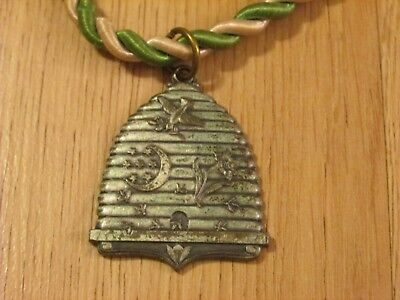 Antique Independent  Order of Odd Fellows (IOOF) Beehive Pendant on Cord w/pouch