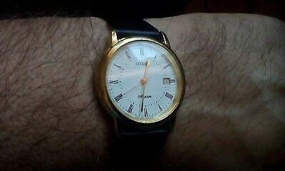 Vintage Citizen Gold Plated Men's Watch. White Dial Roman Numerals New Battery