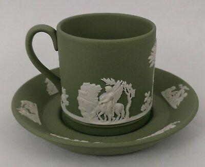 Antique ENGLISH Glazed WEDGWOOD CHINA Porcelain TEA CUP + SAUCER England GREEN 2