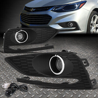 For 2016-2018 Chevy Cruze Pair Projector Driving Fog Light W/bezel Cover+Switch