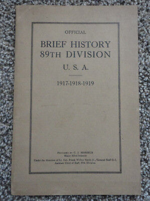 Official Brief History 89th Division USA, 1917-1918-1919 WWI, Unit History Book