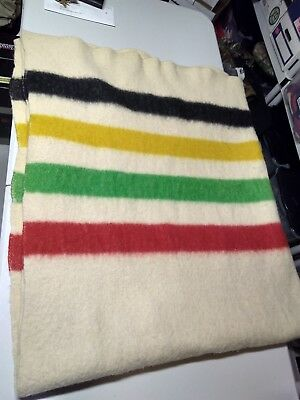 """RARE VINTAGE MULTI STRIPED WOOL CAMP TRADE BLANKET 62x81"""" Wiley"""