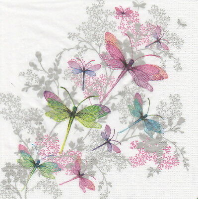 4x Paper Napkins for Decoupage Craft Nigel Quiney: Dragonfly Groove
