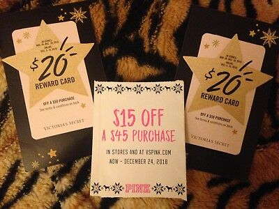 VICTORIA'S SECRET PINK VS Holiday Reward Gift Cards 2 $20 lot BONUS $15 xmas
