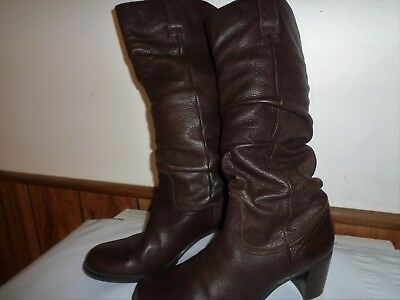 Liz Claiborne Musket FLEX SOFT Brown Pebbled LEATHER Slouch Tall Boots 6-1/2 M