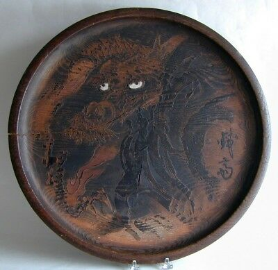 Large Signed Japanese Edo 18th 19th Century Carved Wood Dragon Tray Panel Plate