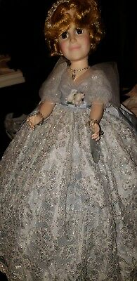 """Beautiful Madame Alexander Portrait Doll of Madame Herself; 21"""" blue silver dres"""