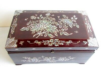 Antique Jewelry/Trinket Box Rosewood & Mother of Pearl Inlay Floral Decoration