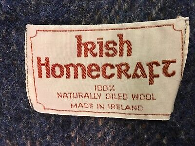 Vintage Irish Homecraft Ireland 100% naturally oiled wool blanket plaid 70x54