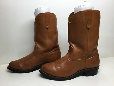 Vtg Mens Made In Usa Cowboy Work Leather Brown Boots Size 8 D