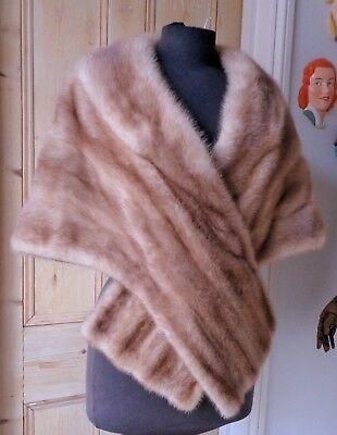 "Magnificent Golden Sable Shade Real Fur ""Royal Pastel"" Mink Cape Stole Bolero."