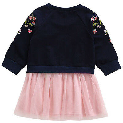 Kid's Cherry Blossom Dress Pink/Navy Toddler Embroidered Flowers