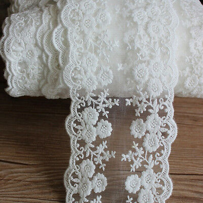 New White Daisy Floral Embroidered Lace Fabric Dress Sewing Tulle Lace Trim 1yd