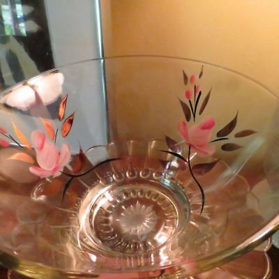 Vtg Shabby Chic Hand Painted Clear Glass Serving Bowl Dish Pink Roses Gold Gilt