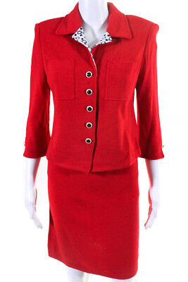 St. John Collection By Marie Gray Womens Skirt Suit Red Wool Above Knee Size 6 8