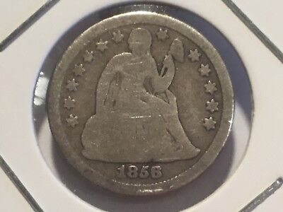 "1856 US ""Liberty Seated""  Dime.  172 years old."