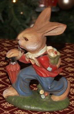 Vintage German Paper Mache Easter Rabbit Bunny Carrying Basket  MAROLIN GERMANY