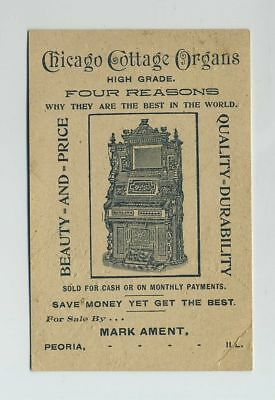 1800's Chicago Cottage Organs Advertising Trade Card Mark Ament Peoria IL wz1305