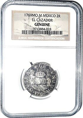 1769 MO F 2 Reales El Cazador Shipwreck Coin,NGC Certified,Excellent Condition