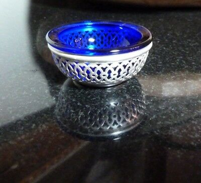 "Webster 2"" Pierced Sterling Salt Dip with a Cobalt Blue Glass Insert - Excellent"