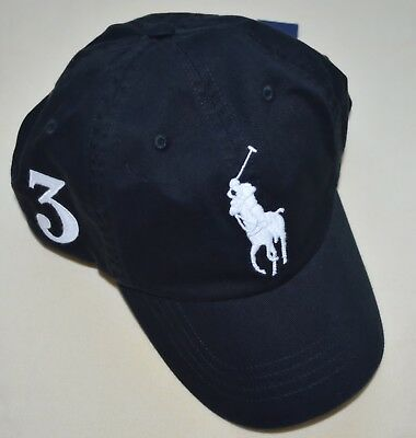 New Polo Ralph Lauren Baseball Cap Big Pony black hat Adjustable Strap One Size