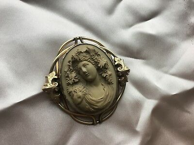 Antique Victorian Carved Lava Cameo Brooch of Bacchante