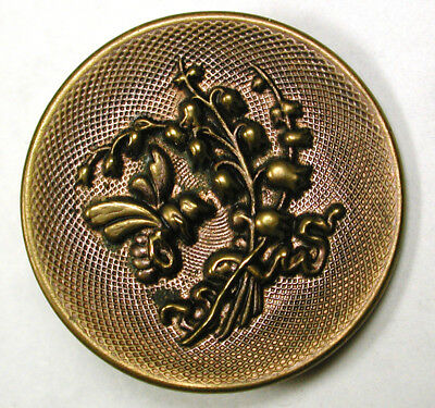 BB Antique Brass Buttons w/ Bee & Lily of the Valley Flowers - 1 & 5/16""