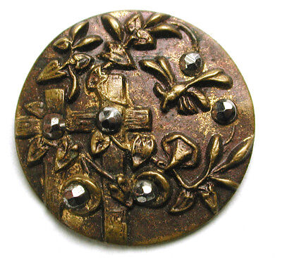 BB Antique Stamp Brass Button Flowers & Trellis w/ B-Fly & Cut Steel Accent 7/8""