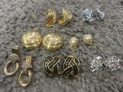 VINTAGE  RHINESTONE   EARRING LOT OF 8 PAIR  CLIP ON & SCREW BACK Untested