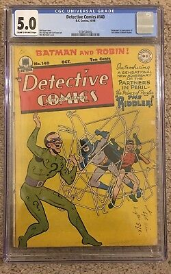 Detective Comics #140 CGC 5.0 (Oct 1948, DC) Origin & 1st Appearance Riddler