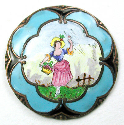 BB Antique Button Hand Painted Enamel Woman w Turquoise Border 1 & 1/16""