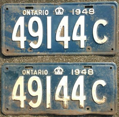 ONTARIO 1948 COMMERCIAL TRUCK  license plate plates PAIR 49144-C