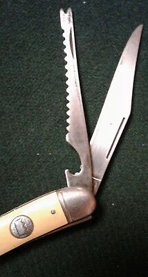 Vintage Imperial Prov. RI USA 2 Blade Fishing Knife w Yellow Handle Crown Knives