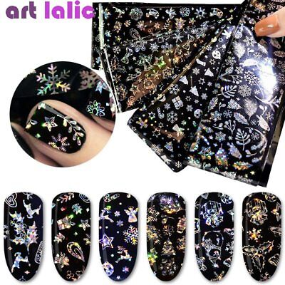4 Sheets Holographic Nail Art Transfer Stickers Decals Flower Snowflake Foil