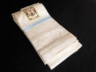Set Of 12 Irish Huck Linen Damask Show Hand Guest Towels  New Old Stock W Tags